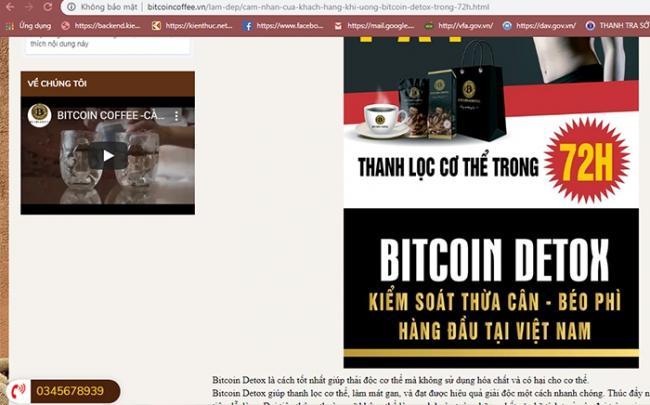 Bitcoin Coffee VN giả mạo báo chí... lừa dối khách về giảm cân Bitcoin Detox