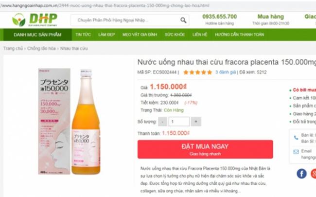 Cẩn trọng trước thông tin quảng cáo thực phẩm bảo vệ sức khỏe Fracora Placenta Drink