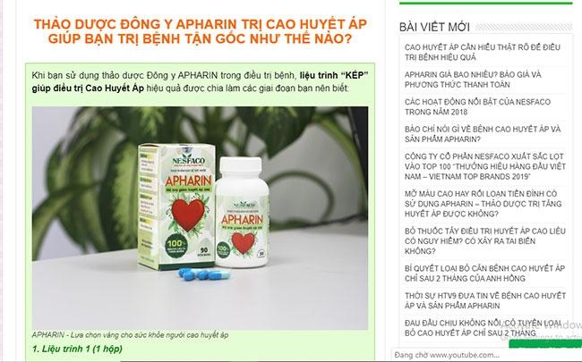 Công ty Cổ phần NESFACO quảng cáo Apharin như thuốc chữa cao huyết áp, đánh lừa người bệnh?